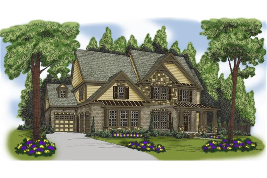 Home Plan Rendering of this 5-Bedroom,3207 Sq Ft Plan -104-1015