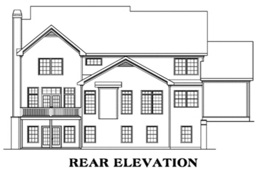 Home Plan Rear Elevation of this 5-Bedroom,3207 Sq Ft Plan -104-1015