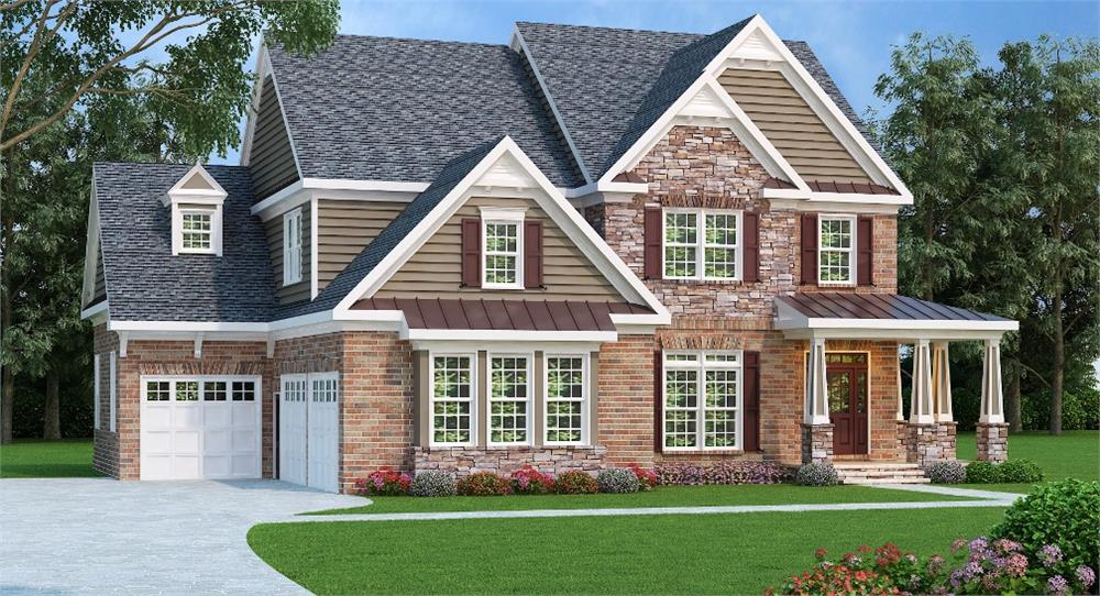 Photo-realistic rendering of House Plan #104-1015