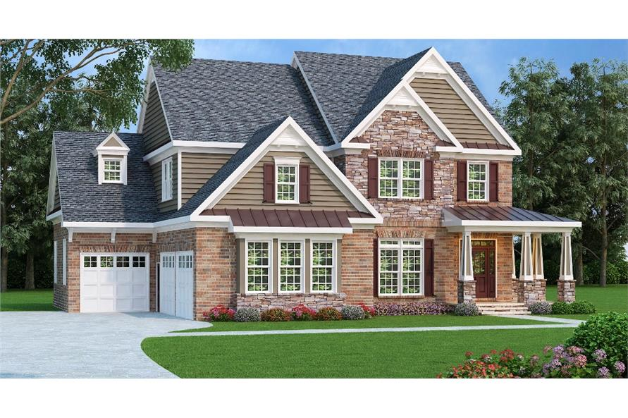 5-Bedroom, 3207 Sq Ft Country Home Plan - 104-1015 - Main Exterior