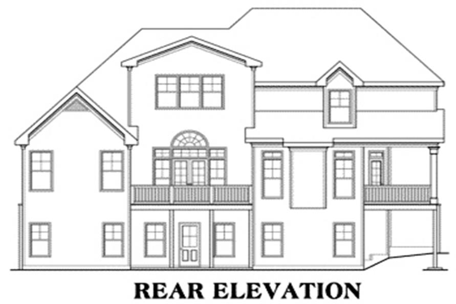 Home Plan Rear Elevation of this 4-Bedroom,3167 Sq Ft Plan -104-1016