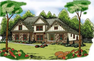 4-Bedroom, 3167 Sq Ft Craftsman House Plan - 104-1016 - Front Exterior