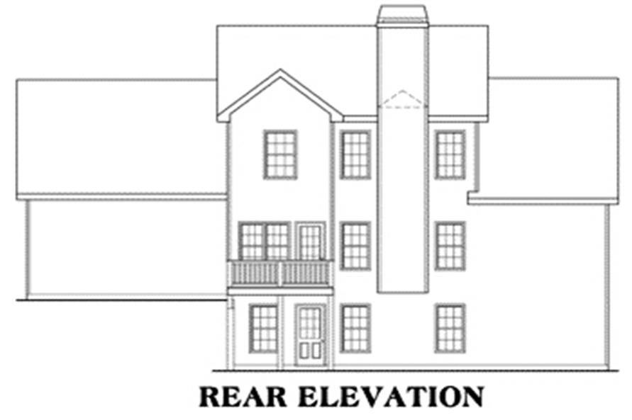 Home Plan Rear Elevation of this 3-Bedroom,1721 Sq Ft Plan -104-1017