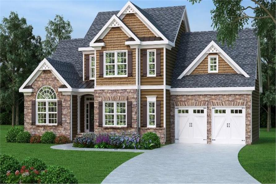 3-Bedroom, 1721 Sq Ft Country House Plan - 104-1017 - Front Exterior