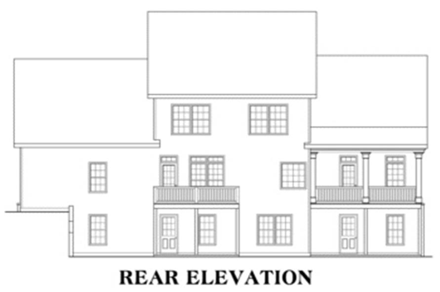 Home Plan Rear Elevation of this 4-Bedroom,2965 Sq Ft Plan -104-1020