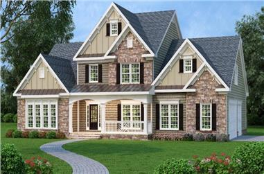 4-Bedroom, 2965 Sq Ft Farmhouse House Plan - 104-1020 - Front Exterior