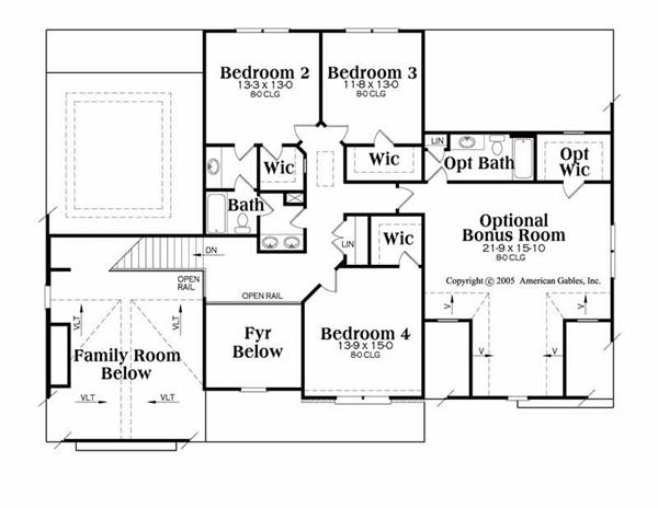 House Plan Jamestowne Second Floor Plan