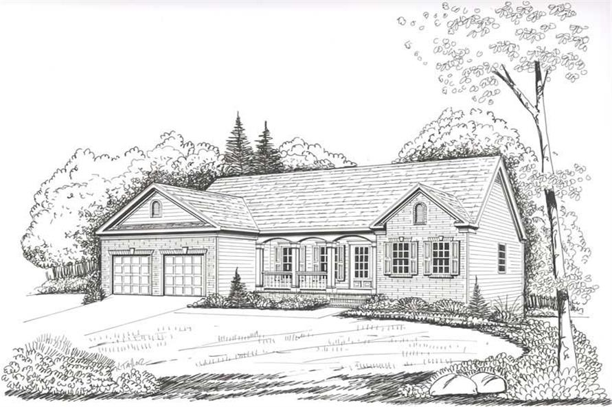 Front Elevation of this 3-Bedroom,1566 Sq Ft Plan -1566