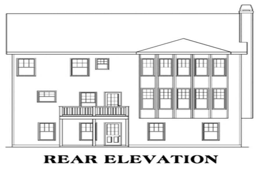 104-1024: Home Plan Rear Elevation