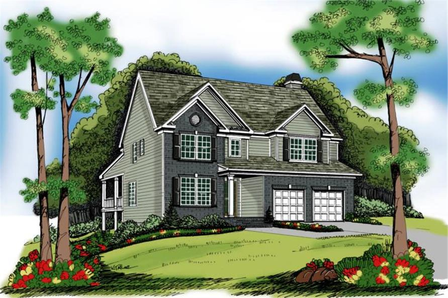 4-Bedroom, 2335 Sq Ft Traditional House Plan - 104-1026 - Front Exterior