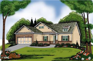 3-Bedroom, 1856 Sq Ft Bungalow House Plan - 104-1027 - Front Exterior