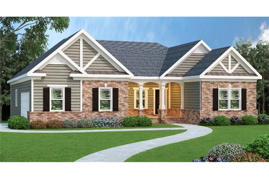 3-Bedroom, 1960 Sq Ft Ranch Home Plan - 104-1028 - Main Exterior