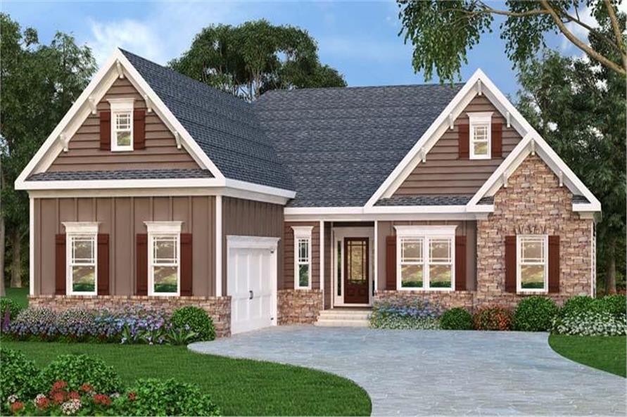 3-Bedroom, 2107 Sq Ft Craftsman House Plan - 104-1029 - Front Exterior
