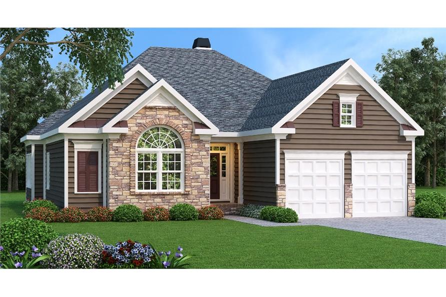 Main image for Ranch style home plan (ThePlanCollection: House Plan #104-1030).