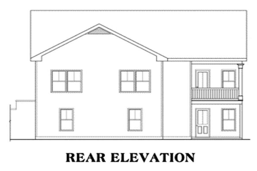 Home Plan Rear Elevation of this 3-Bedroom,1678 Sq Ft Plan -104-1031