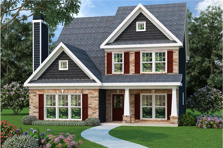 Color rendering of Bungalow style home plan (ThePlanCollection: House Plan #104-1032).