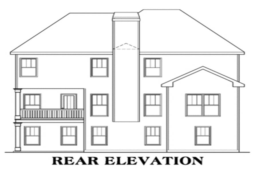 Home Plan Rear Elevation of this 4-Bedroom,2510 Sq Ft Plan -104-1038