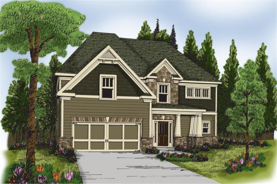 Home Plan Rendering of this 4-Bedroom,2510 Sq Ft Plan -104-1038