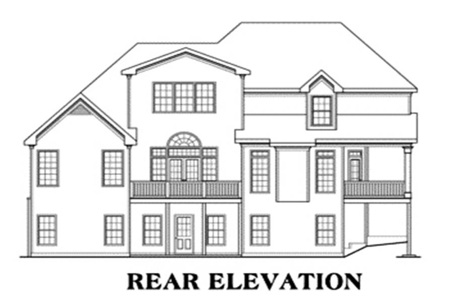 Home Plan Rear Elevation of this 4-Bedroom,3153 Sq Ft Plan -104-1040