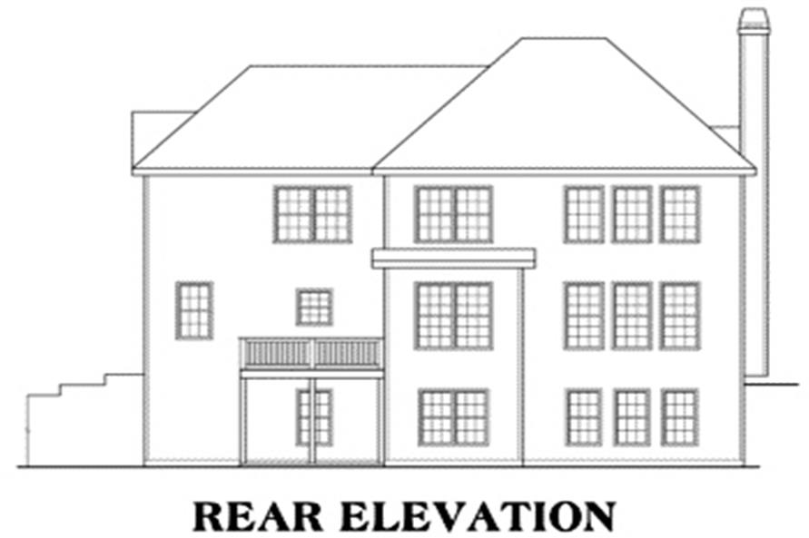 Home Plan Rear Elevation of this 4-Bedroom,2662 Sq Ft Plan -104-1044