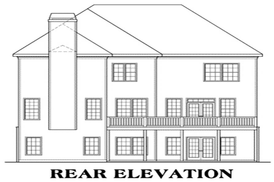Home Plan Rear Elevation of this 4-Bedroom,3249 Sq Ft Plan -104-1045