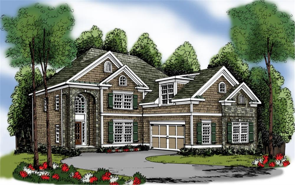Front elevation of Traditional home (ThePlanCollection: House Plan #104-1045)