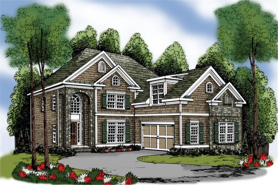 4-Bedroom, 3249 Sq Ft Traditional Home Plan - 104-1045 - Main Exterior