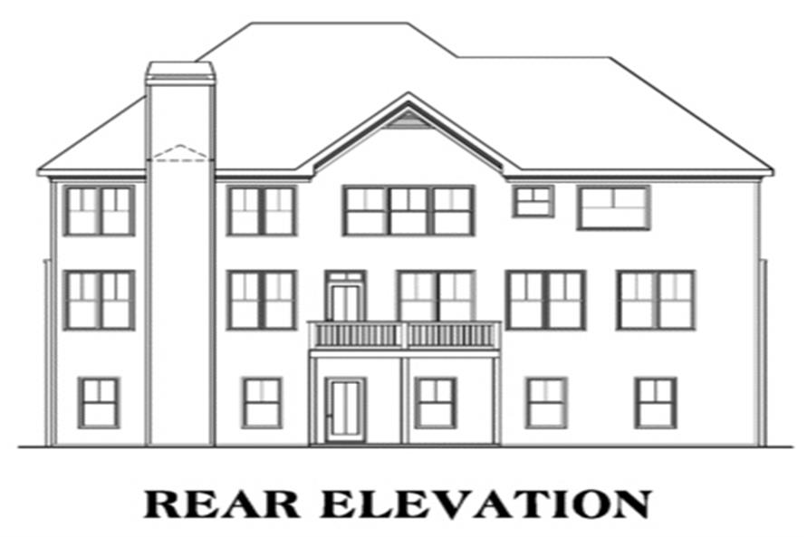 Home Plan Rear Elevation of this 4-Bedroom,3687 Sq Ft Plan -104-1050
