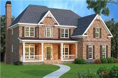 5-Bedroom, 3919 Sq Ft Colonial Home Plan - 104-1053 - Main Exterior