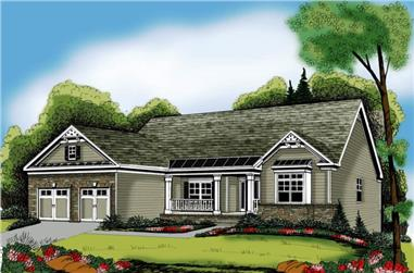 4-Bedroom, 2221 Sq Ft Craftsman House Plan - 104-1056 - Front Exterior