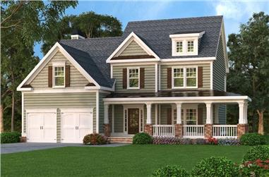 3-Bedroom, 2489 Sq Ft Country Home Plan - 104-1062 - Main Exterior