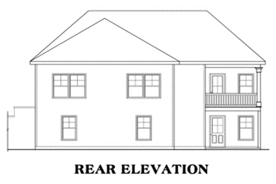 Home Plan Rear Elevation of this 3-Bedroom,1669 Sq Ft Plan -104-1063