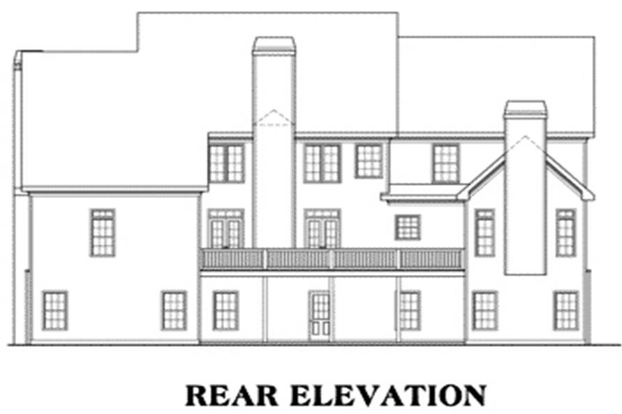 Home Plan Rear Elevation of this 5-Bedroom,4083 Sq Ft Plan -104-1067