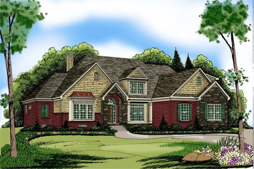 4-Bedroom, 3793 Sq Ft European Home Plan - 104-1068 - Main Exterior