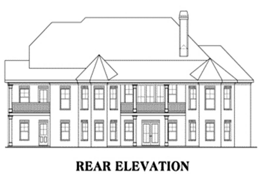 Home Plan Rear Elevation of this 4-Bedroom,3763 Sq Ft Plan -104-1070