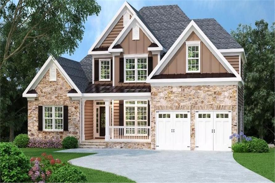 3-Bedroom, 2276 Sq Ft Craftsman House Plan - 104-1071 - Front Exterior