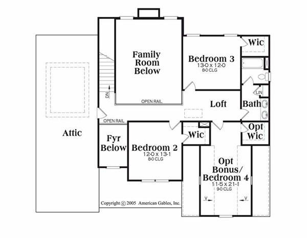 House Plan Chatham Second Floor Plan