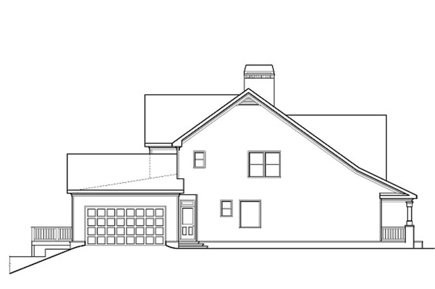 Home Plan Left Elevation of this 5-Bedroom,3525 Sq Ft Plan -104-1074