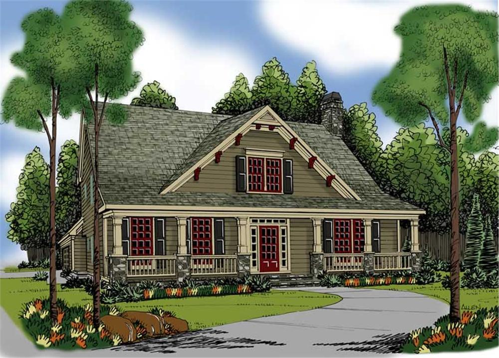 Front elevation of Ranch home (ThePlanCollection: House Plan #104-1074)
