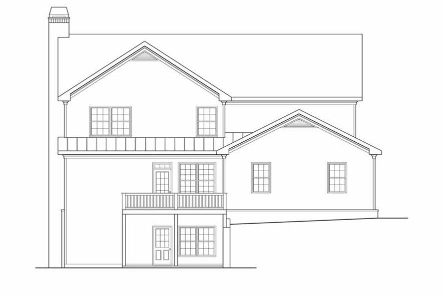 Home Plan Rear Elevation of this 5-Bedroom,3525 Sq Ft Plan -104-1074
