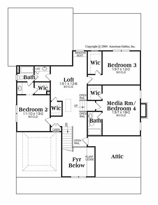 House Plan Greystone Second Floor Plan