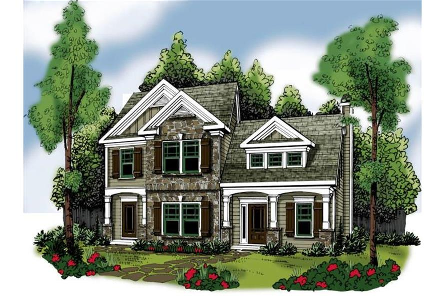 Home Plan Rendering of this 3-Bedroom,1708 Sq Ft Plan -1708