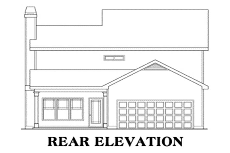 Home Plan Rear Elevation of this 3-Bedroom,1708 Sq Ft Plan -104-1075