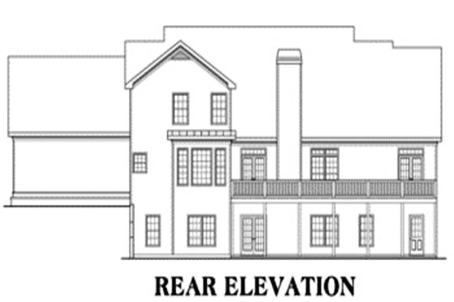 Home Plan Rear Elevation of this 4-Bedroom,3681 Sq Ft Plan -104-1076