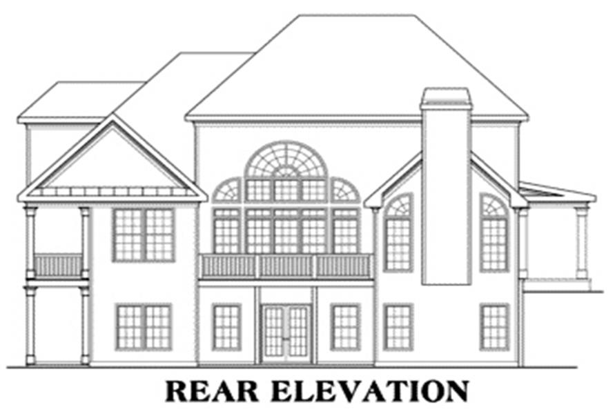Home Plan Rear Elevation of this 4-Bedroom,3317 Sq Ft Plan -104-1079