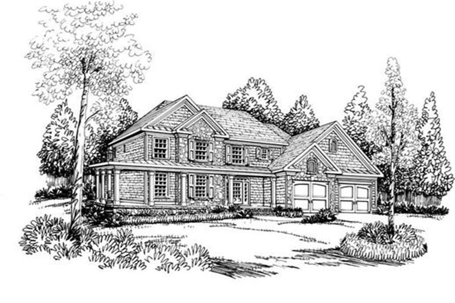 Front Elevation of this 4-Bedroom,3317 Sq Ft Plan -3317
