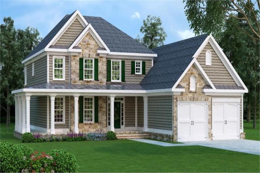4-Bedroom, 3317 Sq Ft Country House Plan - 104-1079 - Front Exterior