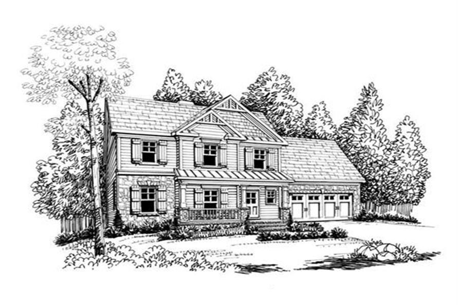 Front Elevation of this 3-Bedroom,1582 Sq Ft Plan -1582