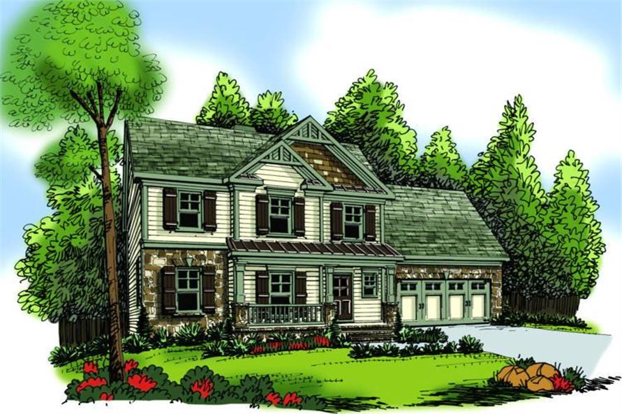 3-Bedroom, 1582 Sq Ft Craftsman Home Plan - 104-1080 - Main Exterior