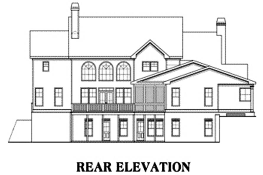 Home Plan Rear Elevation of this 5-Bedroom,4405 Sq Ft Plan -104-1082